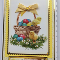 3D Luxury Handmade Card Easter To Someone Very Special Basket Eggs Chicks