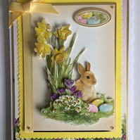 3D Luxury Handmade Card Easter To A Wonderful Friend Bunny Eggs Daffodils