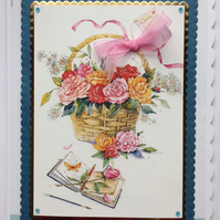 3D Luxury Handmade Card With Love Basket of Flowers with Journal