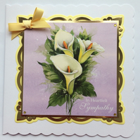 3D Luxury Handmade Card In Heartfelt Sympathy Calla Lilies