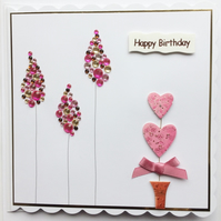 3D Luxury Handmade Happy Birthday Card Love Heart Topiary and Gem Trees