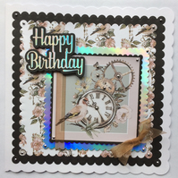 3D Luxury Handmade Card Steampunk Bird Clock and Cogs Any Occasion Birthday