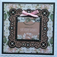 3D Luxury Handmade Card Steampunk Sending You Birthday Wishes Vintage Flowers