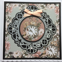3D Luxury Handmade Card Steampunk Bird Clocks Flowers Blank for Any Occasion