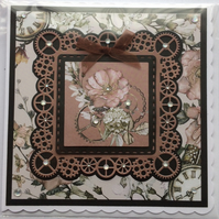 3D Luxury Handmade Card Steampunk Clocks Cogs Flowers Blank for Any Occasion
