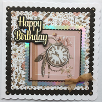 3D Luxury Handmade Card Steampunk Clock Cogs Feathers Flowers All Occasions
