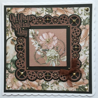 3D Luxury Handmade Card Steampunk Clocks Cogs Flowers On Your Special Day