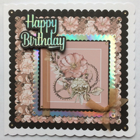 3D Luxury Handmade Card Steampunk Vintage Flowers Cogs All Occasions Birthday