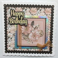 3D Luxury Handmade Card Steampunk Vintage Flowers Feathers Cogs All Occasions