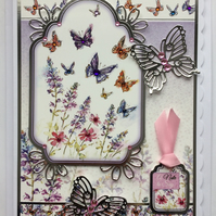 3D Luxury Handmade Card A Note to Say Silver Butterflies Wild Flowers and Gems