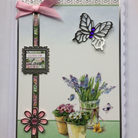 3D Luxury Handmade Card Lots of Love Gardening Flowers Birthday Any Occasion