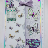 3D Luxury Handmade Card Best Wishes Butterfly Kisses Vintage Birdcage