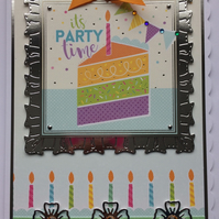 3D Luxury Handmade Card It's Party Time Birthday Tier Cake Candles Bunting