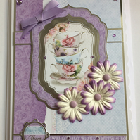 3D Luxury Handmade Card Just for You Mum Best Wishes Vintage China Cup of Tea