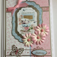 3D Luxury Handmade Card Happy Birthday Cup of Tea Vintage Radio Bone China