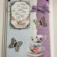 3D Luxury Handmade Card Enjoy a Cup of Tea Any Occasion Vintage Bone China