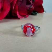 Aluminium wrapped wire ring with gorgeous red glass bead