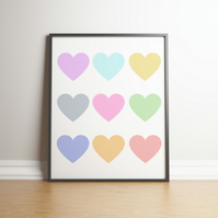 Pretty Pastel Colour Hearts - Digital Print