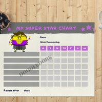 Editable Super Star Reward Chart - Digital Print - For Kids - Back To School