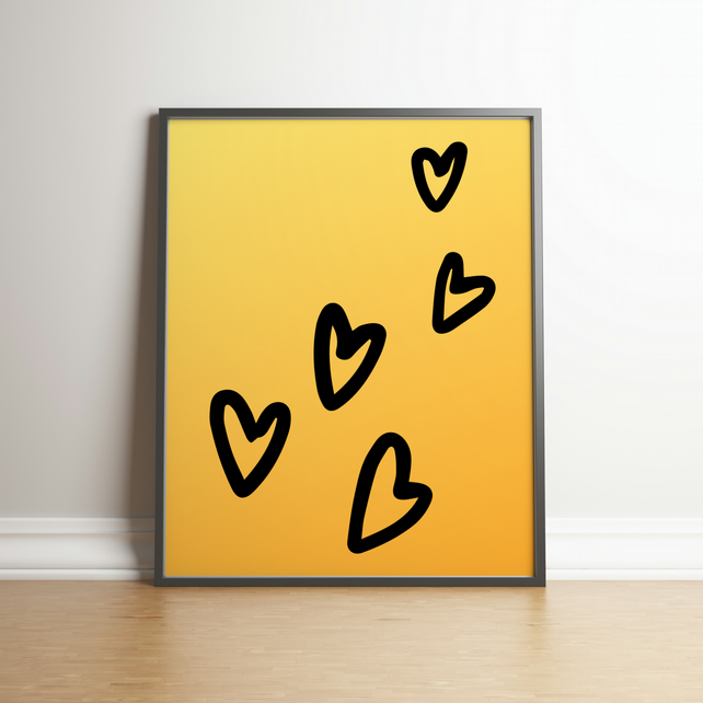 Chunky Hearts On A Yellow Gradient Background - Digital Print