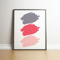 Shades Of Coral, Pink and Grey Paint Splodges - Digital Print