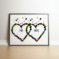 Pixel Heart Mr & Mrs Digital Print - Geek Gifts - Wedding Gifts