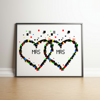 Pixel Heart Mrs & Mrs Digital Print - Geek Gifts - Wedding Gifts