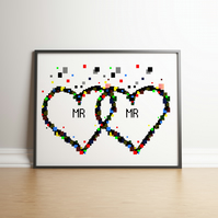 Pixel Heart Mr & Mr Digital Print - Geek Gifts - Wedding Gifts