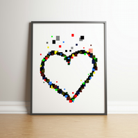 Pixel Heart Digital Print - Geek Gifts - Gifts For Her