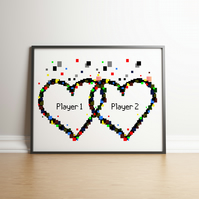 Pixel Heart Player 1 & Player 2 Digital Print - Geek Gifts - Wedding Gifts