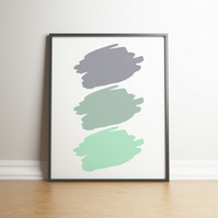 Shades Of Grey and Greens Paint Splodges - Digital Print