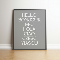 Hello Typography Grey Digital Print - Home Decor - Wall Hangings - Dorm Decor