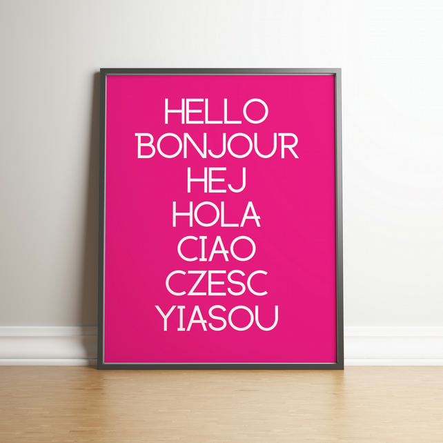 Hello Typography Hot Pink Digital Print - Home Decor - Wall Hangings
