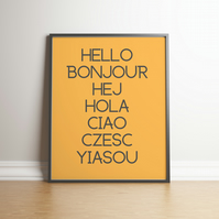 Hello Typography Mustard Yellow Digital Print - Home Decor - Wall Hanging