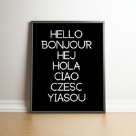 Hello Typography Black Digital Print - Home Decor - Wall Hangings - Dorm Decor