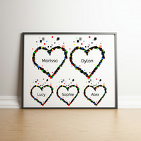Pixel Heart Family Digital Print - Geek Gifts - Personalised Gifts