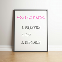How To Relax Typography Digital Print