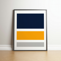 "Printable ""Navy, Mustard and Grey Colour Block"" Digital Art - 2020 Design Trend"