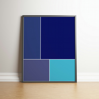 "Printable ""Shades of Blue Colour Block"" Digital Art 2020 Design Trend"