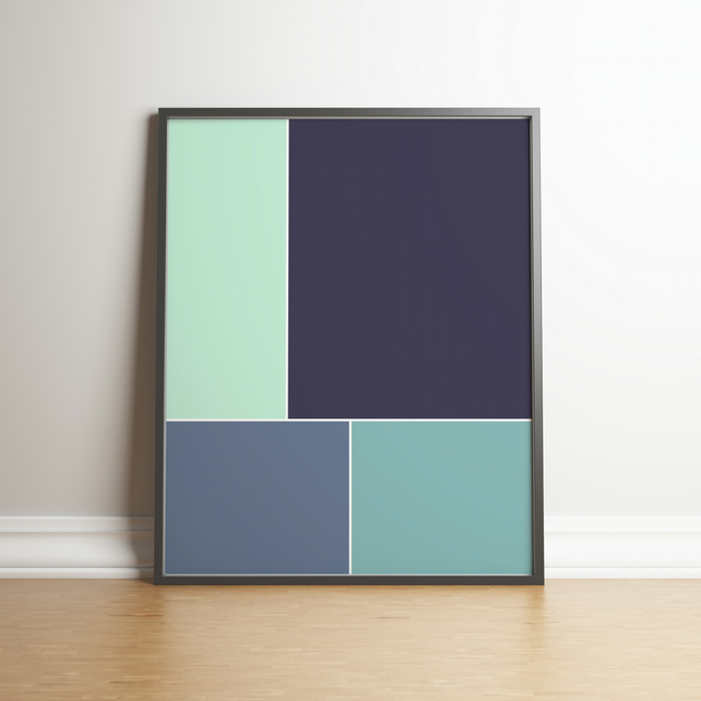 "Printable ""Shades of Blue-Green & Blue-Grey Colour Block"" 2020 Design Trend"