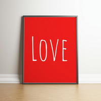 "Printable ""Love"" Red Digital Print - Downloadable Print - Home Decor - Valentine"