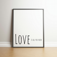 "Printable ""Love Is All You Need - Downloadable Print - Home Decor Valentine"