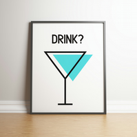 Drink? With Coloured Glasses - Kitchen Wall Art - Digital Print