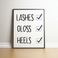 Lashes, Gloss, Heels - Typography Digital Print - Words & Phrases - Home Decor