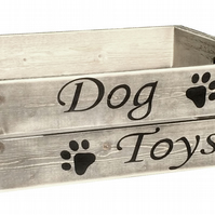 Large Dog Toy Box Wooden Gift Crate 6 Weathered Colours and Personalise For Free