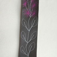 Embroidered leather bookmark - Pot plant, magenta