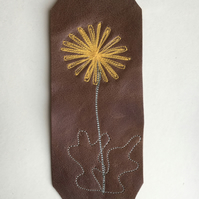 Embroidered leather bookmark - Dandelion-esque