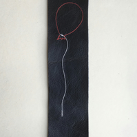 Embroidered leather bookmark - Red balloon