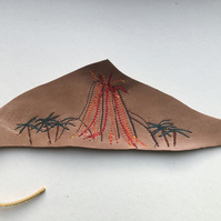 Embroidered leather bookmark - Volcano