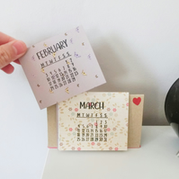 2020 Table Desk Calendar, Handmade Small Mini Double Size Calendar, Small gift